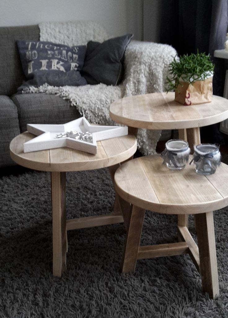 3 ronde tafeltjes oud steigerhout Harrie de Weert Multidiensten