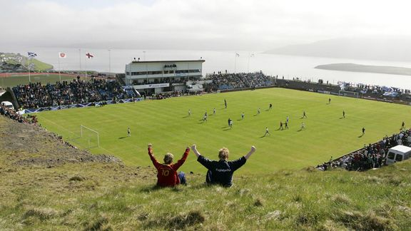 Toftir Stadium - Faroe Islands  With a capacity of 6,000, the stadium can host the entire population of local village, Toftir, six times over.