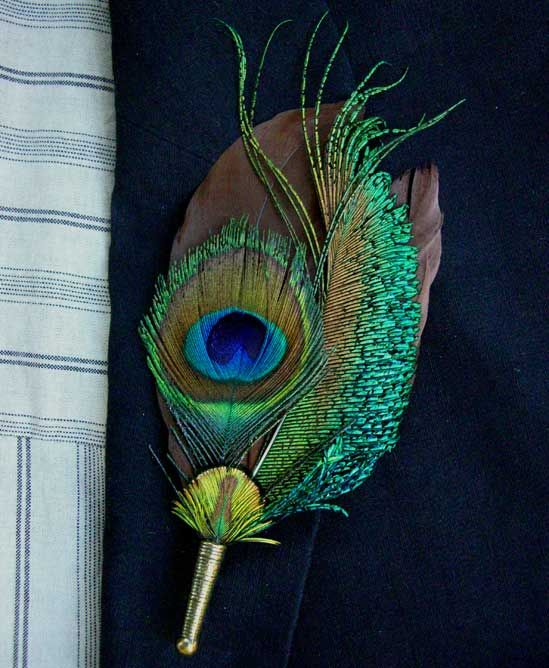 PEACOCK BOUTONNIERE: Peacock Eye with Brown Feathers with Pin $24