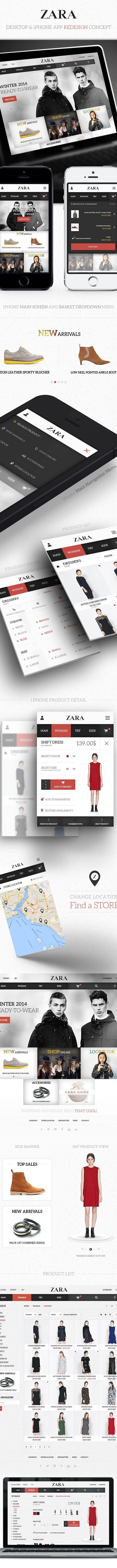 Zara / Desktop & iPhone App Redesign by Eray Demirsoy, via Behance