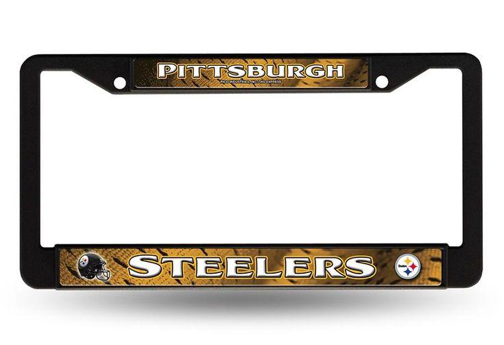 New! Pittsburgh Steelers License Plate Frame Chrome Black New #PittsburghSteelers