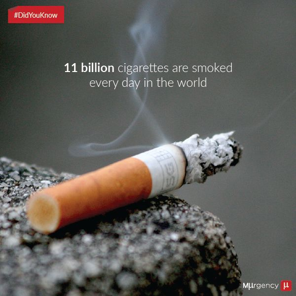 How many Cigarettes are smoked every day in the world