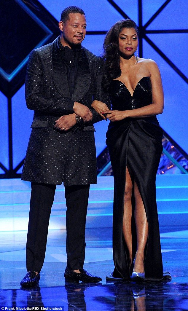 United front: Terrence Howard, 46, and Taraji P. Henson, 45, put on a glamorous display as they co-hosted Taraji and Terrence's White Hot Holidays Special on Tuesday