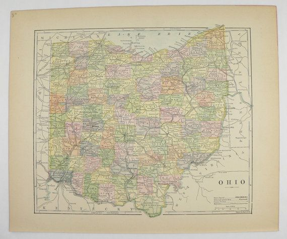 Antique Ohio Map 1896 Vintage Map of Ohio State, County Map, Ohio Gift for Him, Office Art Gift for Coworker, OH Map available from OldMapsandPrints.Etsy.com #Ohio #VintageOhioMap