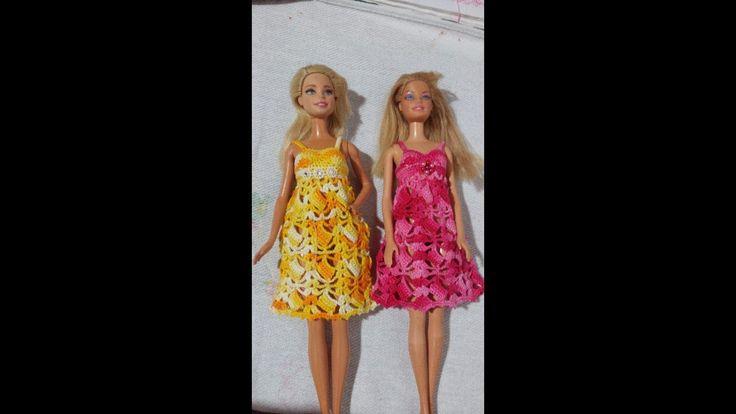 vestido de crochê #13, para boneca barbie e similares