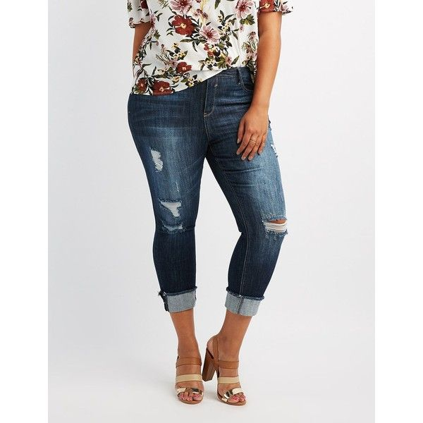 Cello Cropped Skinny Jeans ($25) ❤ liked on Polyvore featuring jeans, indigo, plus size distressed jeans, plus size ripped jeans, denim capris, plus size capris and distressed denim capris
