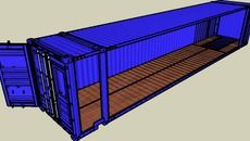 3D Model of 48' Hi-Cube container modelled in detail, realism & dimensions — with options — Blue