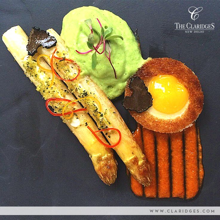 At The Claridges, while presentation is key, the Braised White Asparagus, Truffled Green Asparagus with Quail Egg looks only half as good as it tastes!
