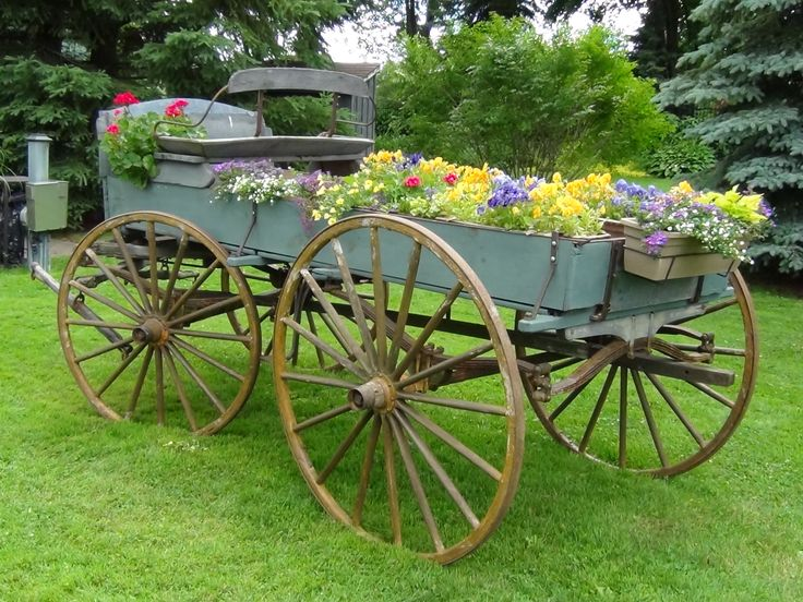 A wagon full of flowers at Oakview Terrace gardens in Richmond Hill, Ontario, Canada.  June 2012