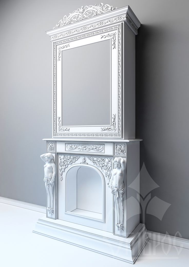 Carved fireplace in the art Nouveau style
