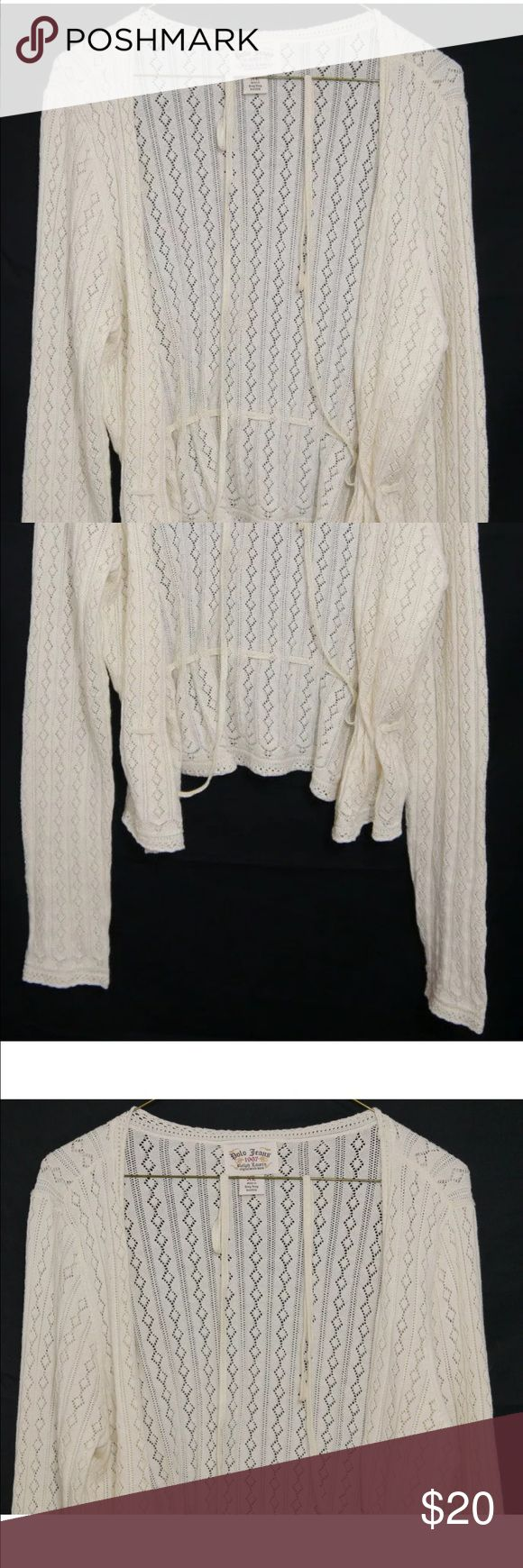 Polo Jeans Ralph Lauren Cream Loose Knit Cardigan Pre-Owned in Excellent Condition Women's Polo Jeans Ralph Lauren Women's Cream Loose Knit Waist Tie Cardigan XL   Material:  96% Cotton / 4% Other Materials  XL Polo by Ralph Lauren Sweaters Cardigans