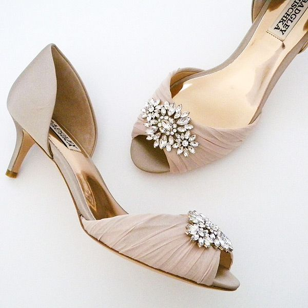 Badgley Mischka Caitlin, Nude Dress Shoes ~ Badgley Mischka Shoes for weddings, evening wear, grand occasions. Caitlin offers glamour on a low heel in a range of neutral colors.