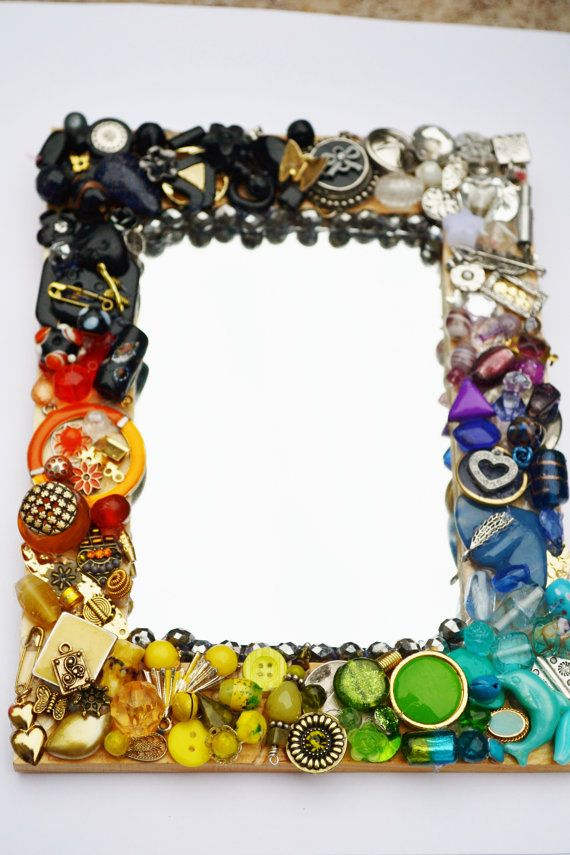 mosaic  mirror  recycled jewelry rainbow by MosaicTeasures on Etsy, $37.00    ::   Can you say DIY??