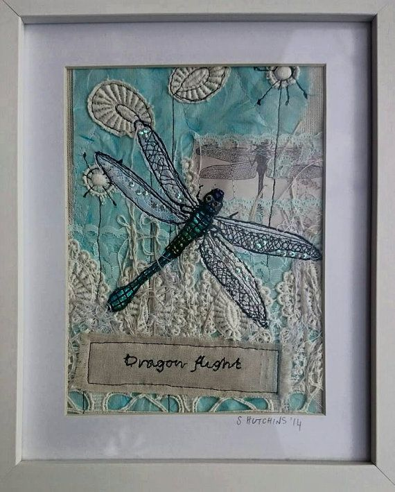 Dragonfly mixed media stitched art collage by LilCritterDesigns