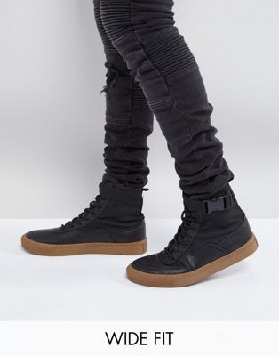 ASOS Wide Fit High Top Trainer Boots In Black With Gum Sole