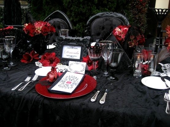 Gothic Table Setting (switch Purple For The Red)