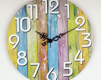 Large Multicoloured Retro Rainbow Wall Clock