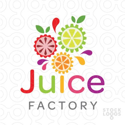Logo Sold Fresh, hip and modern juice company logo. Various fruits designed to look like moving mechanical gears.