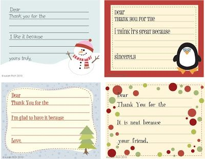 susan fitch design: Christmas Thank You Notes for Kids