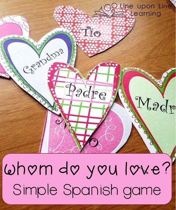 Spanish Valentines with Co-op: Whom Do You Love? Mini lesson and Game $ | Line upon Line Learning blog www.RebeccaReid.com