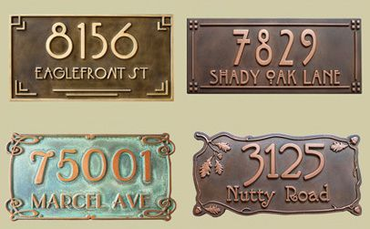 These address plaques are custom carved and coated with copper or brass.