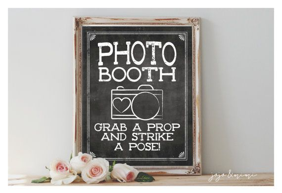 Instant Photobooth Grab a Prop and Strike a Pose Printable Wedding Printable Chalkboard Event Photobooth Sign Size Options