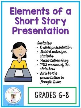 This clean, easy-to-read PowerPoint presentation includes thirteen slides that cover the following topics: What is a short story, plot, stages of plot, character, protagonist/antagonist, conflict, types of conflict, theme, implied and stated theme, setting, and point of view!