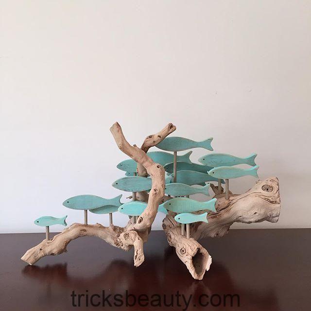Eine Fischschule auf einem ganz anderen Stück Treibholz. #driftwoodart #geschenk #fishart