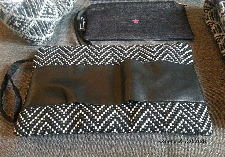 pochette tweed eco pelle Black