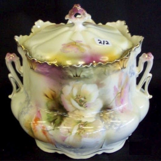 RS Prussia Porcelain Two Handled Biscuit Jar having California Poppy Decor. circa 1880-1920