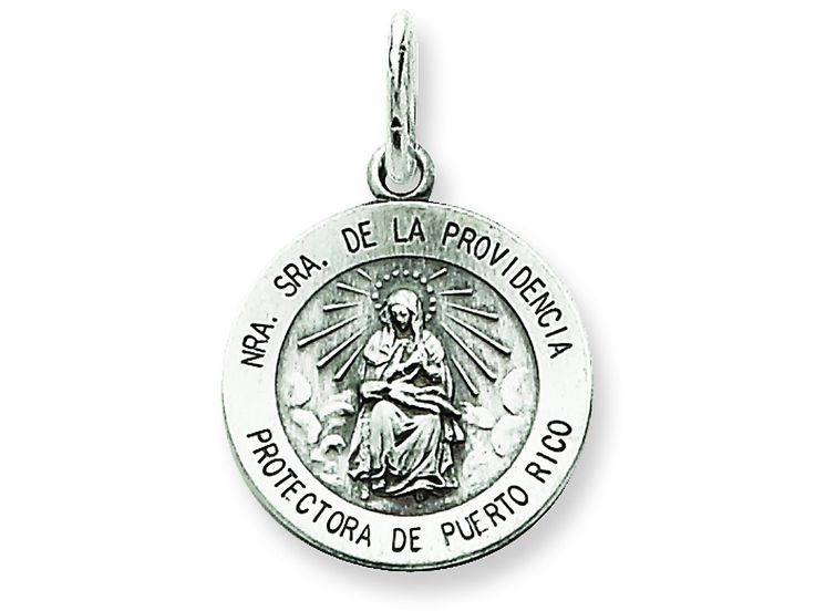 Sterling Silver Antiqued De La Providencia Medal Pendant Necklace - Chain Included