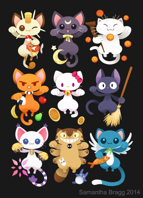 Chats dans manga: pokémon, sailor Moon, dragon ball, fruit basket, hello Kitty, kiki la petite sorcière, digimon, totoro, fairy tail