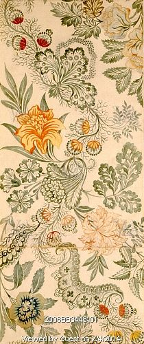 Textile design with floral pattern, by Anna Maria Garthwaite. London, England, early 18th century