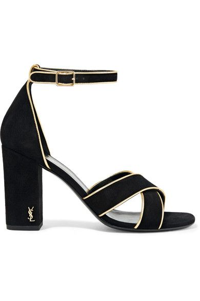 Saint Laurent - Babies Metallic Leather-trimmed Suede Sandals - Black