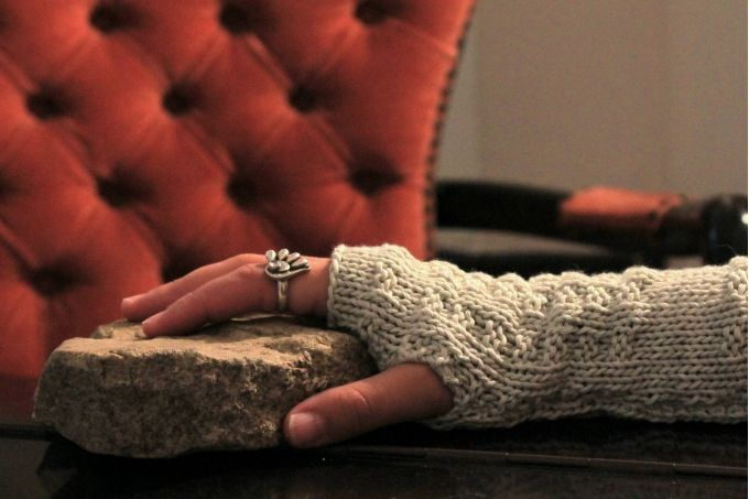 100% Cotton fingerless gloves lovingly hand knitted by Llama