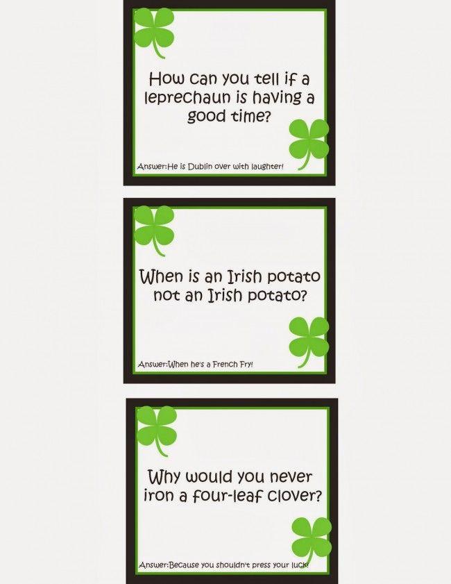 Printable St. Patricks Day Lunch Box Jokes