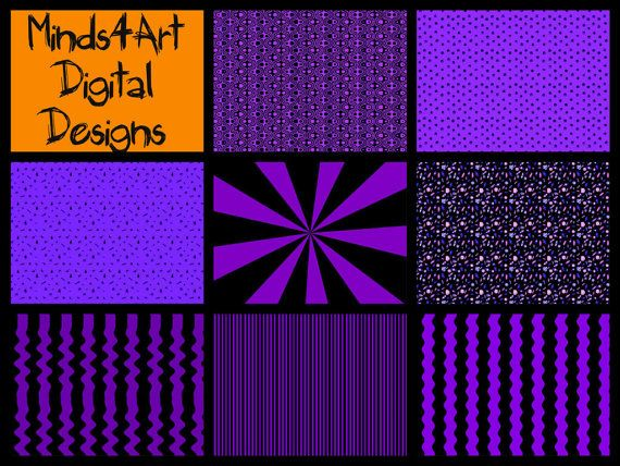 Mega Value Halloween Digital Craft Paper Scrapbook by Minds4Art, $2.49 28 fun purple and black designs