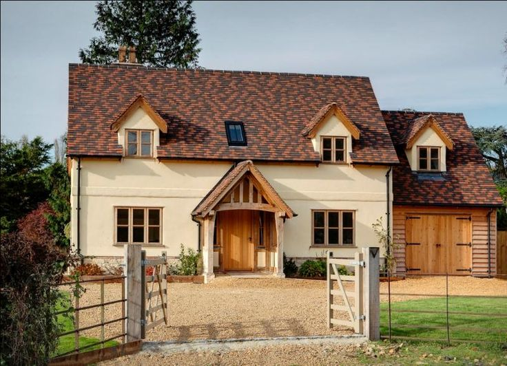 front of cottage with huge oak porch and secure off road parking for several vehicles.