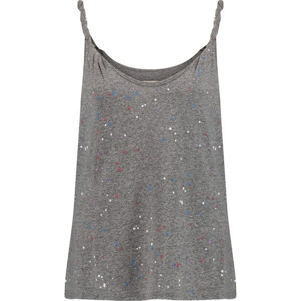 Current/Elliott Paint-splattered stretch-jersey tank (£48) ❤ liked on Polyvore featuring tops, tank tops, tanks, shirts, grey, loose fit tank top, multi color shirt, gray tank, loose fit shirt and gray tank top