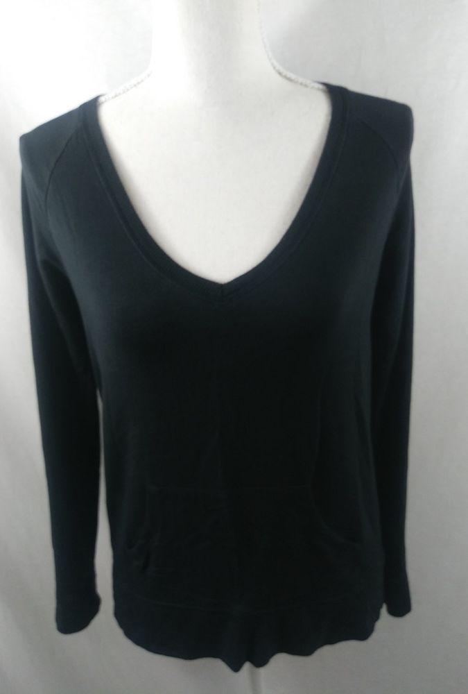 bd37b08c85829 Victoria secret Shirt Black Long Sleeve V Neck Front Pocket Size XS ...