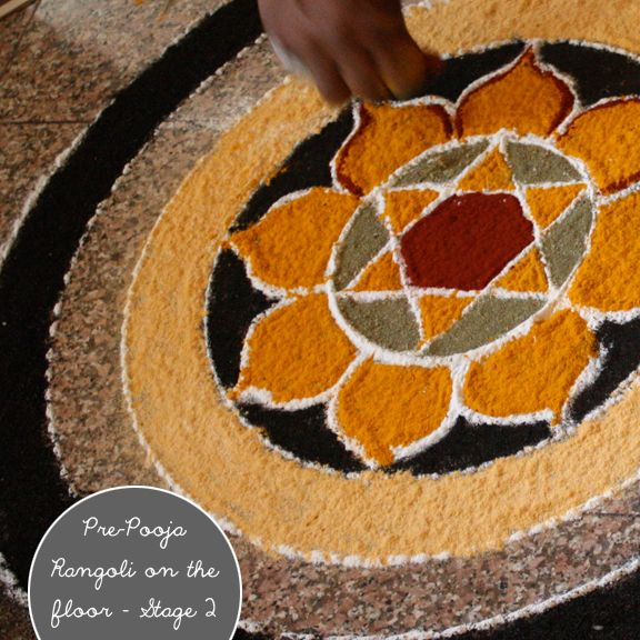 RANGOLI - geometrical patterns drawn on floor & filled in with colored powders / petals of flowers / gems/ grains,et al, is an important part of Indian culture