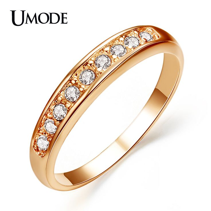 Rose Gold / White Gold Plated Top Quality Rhinestones Wedding Band Rings For Women Fashion Jewelry Wholesale AJR0001