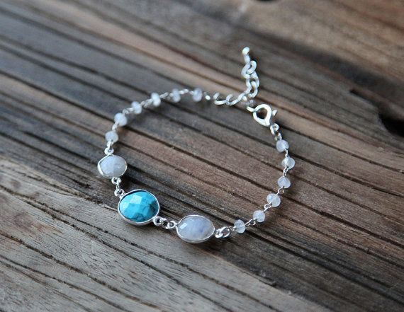 Turquoise, moonstone and wire wrapped beads bracelet by Rosehip Jewelry