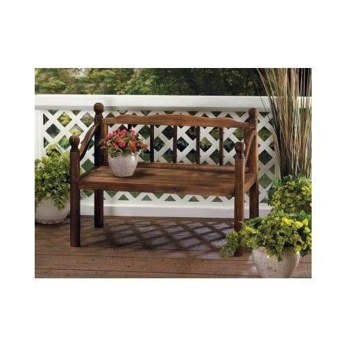 Bench Planter Stand Fir Wood Outdoor Garden Decor Yard Patio Porch New #Unbranded
