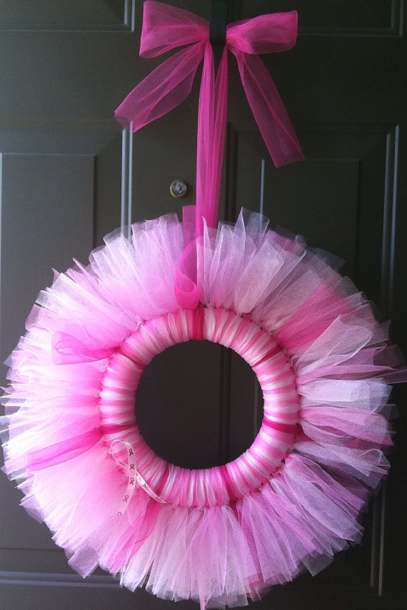 Tulle Breast Cancer Awareness Wreath  / October by MonkeyTutus, $21.99 I just made one of these