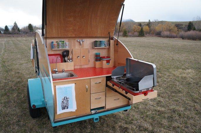 Kitchen Galley of a DIY Teardrop Trailer by Homespun Harros