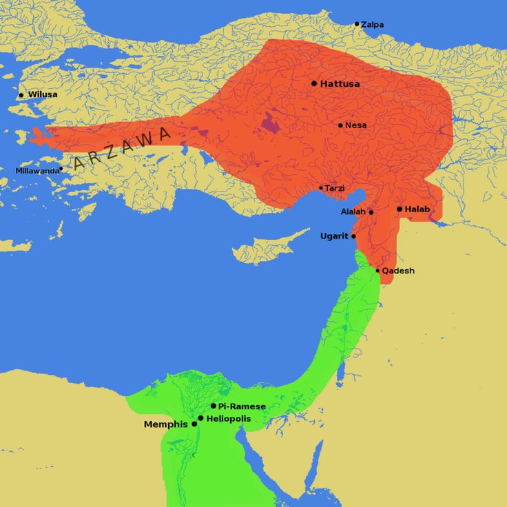 Egyptian and Hittite Empires, around the time of the Battle of Kadesh (1274 BC).