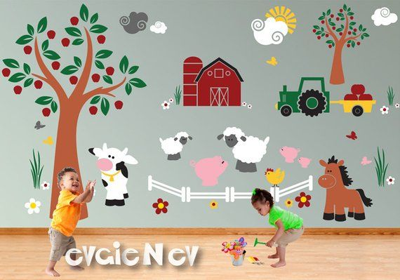 Children Wall Decal Wall Sticker Farm Animals Cow Pigs Sheep Chicken Horse Tractor Barn With Trees Farm Wall Stickers P