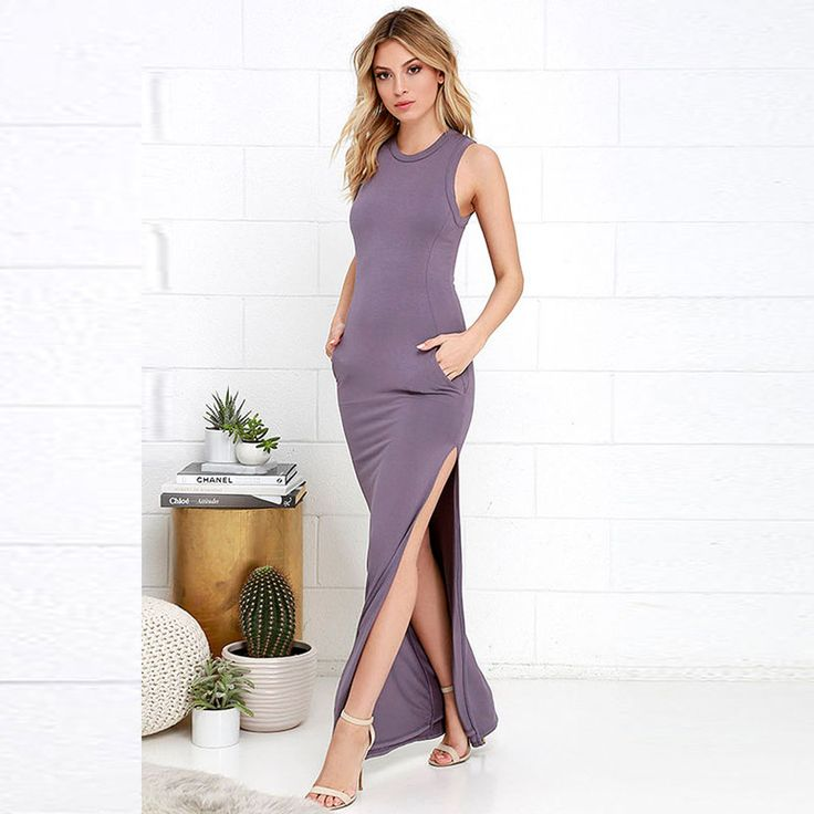 Summer Dress Women Fashion Casual Maxi Dress Slim Elastic Sleeveless High Slit Sexy Long Tight Dress Vestido 1056 Isn`t it awesome? Visit our store