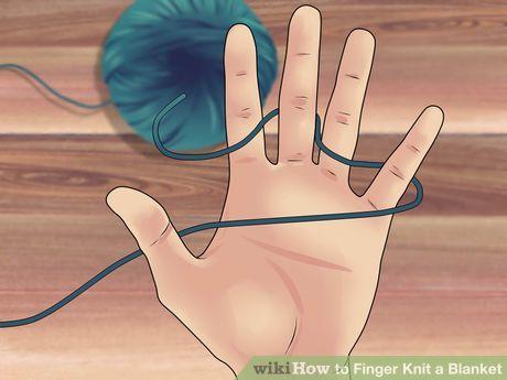 Image titled Finger Knit a Blanket Step 2                                                                                                                                                                                 More